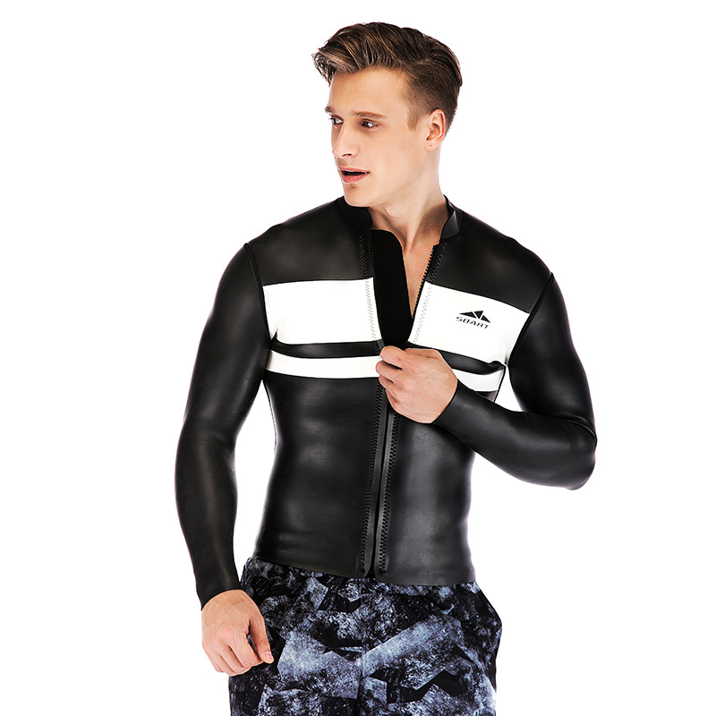 3mm long sleeve neoprene black men s surfing jacket chlorine diving suit warm jacket wetsuit swimsuit