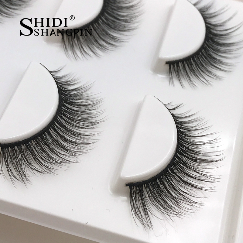 1214b06b824 SHIDISHANGPIN 3 pairs eyelashes 3d mink hair ashes mink eyelashes strip 3d  eyelashes natural long lashes faux cils false eyelash
