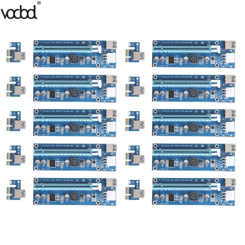 10 pcs Mis À Jour PCI-E 1X à 16X Express Riser Card PCI Extender 60 cm USB3.0 Câble 6 Broches D'alimentation SATA pour Bitcoin l'exploitation minière