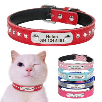 Leather Cat Collar Personalized For Puppy Small Dogs Pet Kitten Nameplate Free Engraving Adjustable - discount item  10% OFF Pet Products