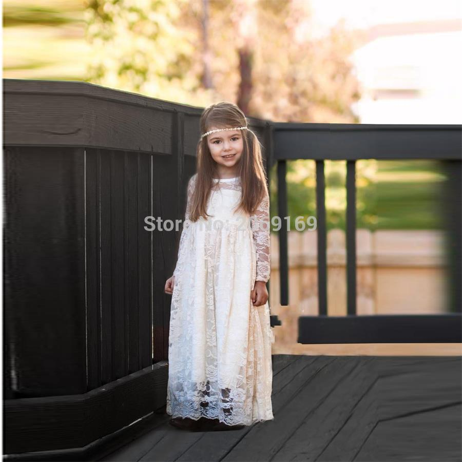 f91b52f7d54 Ivory Lace Flower Girls Dresses 2019 New Sweet Girls First Communion Dresses  Long Sleeve A Line Bohemian Designer Party Gown-in Flower Girl Dresses from  ...