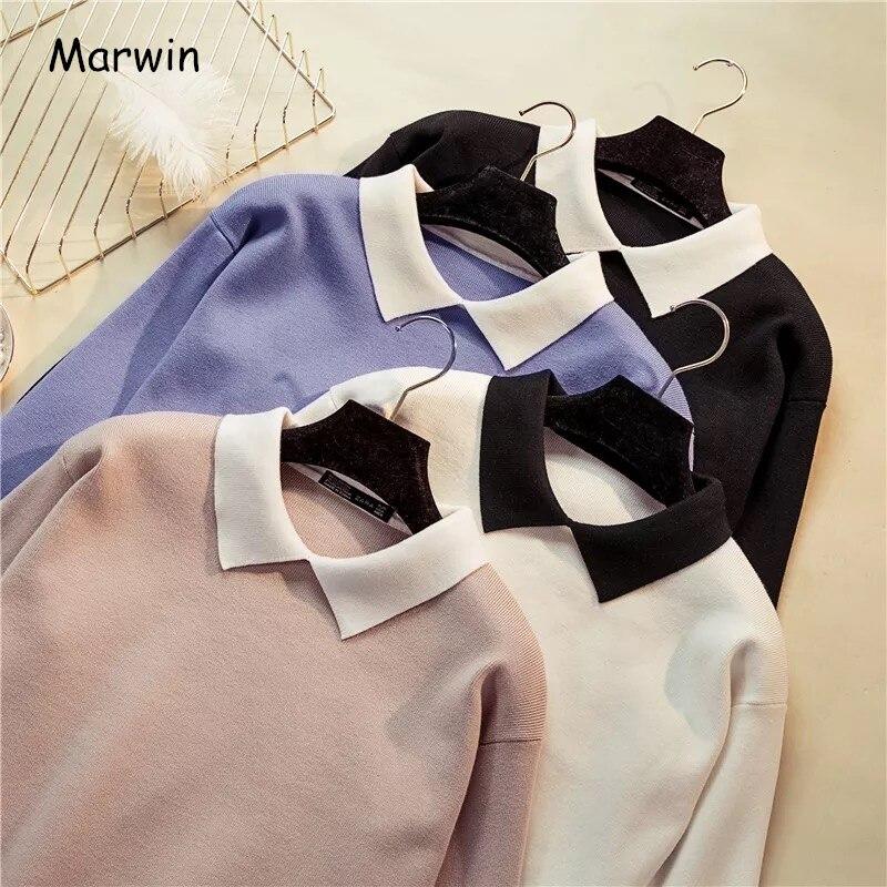 Marwin nouveauté hiver coréen sauvage blanc col rabattu pulls femmes chandail à manches longues Slim Fit tricoté Preppy pull