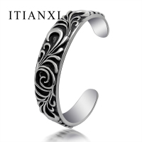 ITIANXI Fashion Noble Luxury Elegant Charm New Mode Men Bracelet Retro Gothic Iris Pattern Classic Cuff