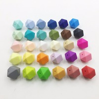 NEW arge Hexagon Loose Silicone Beads for Teething Necklace geometric chew beads diy beads Wholesales New Food Grade beads