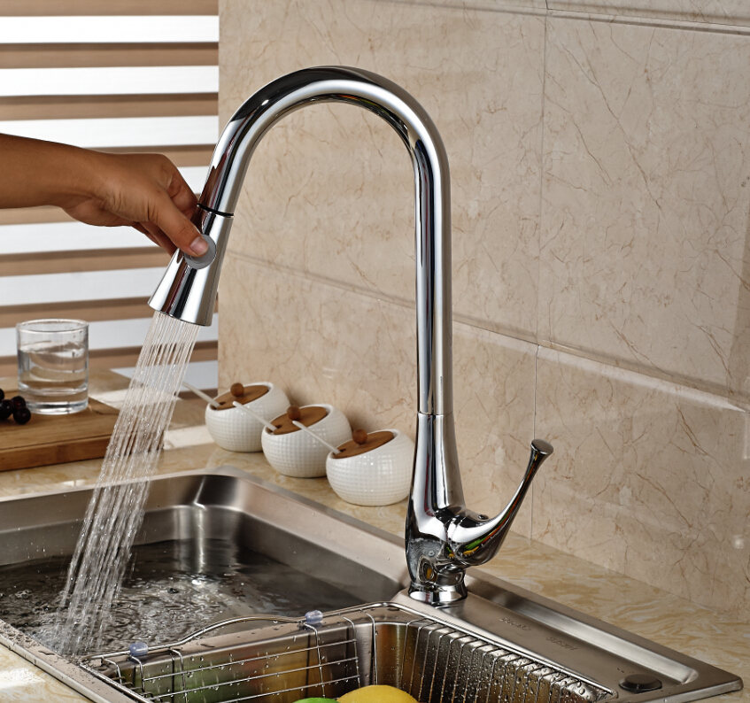 Pull Out Polished Chrome Brass Kitchen Faucet Single Handle Hole Vanity Sink Mixer Tap free shipping high quality chrome brass kitchen faucet single handle sink mixer tap pull put sprayer swivel spout faucet