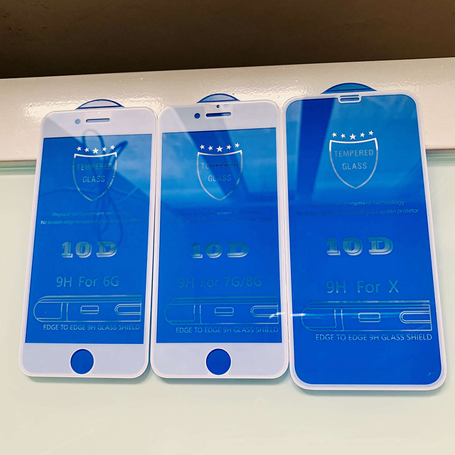 10D protective glass for iPhone 6 7 6S 8 plus X XS MAX XR glass iphone 7 6 8 X XS MAX XR screen protector glass on iPhone 7 8 6S 3