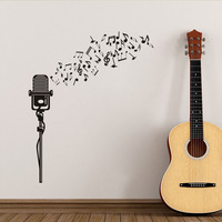 Creative Modern Design Diy Musical Notes Microphone Pattern Wall Sticker For Music Kids Bedroom Wall Decals