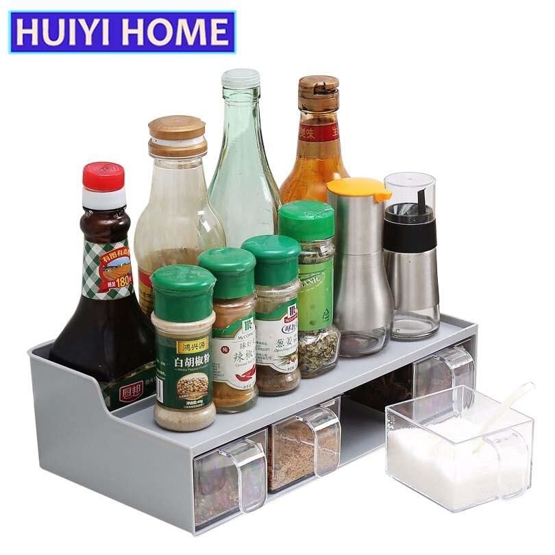 HUIYI ACCUEIL Cuisine Boîte De Rangement Multifonctionnel 4 Grille Assaisonnement Boîte Transparente Avec Cuillère EGN118