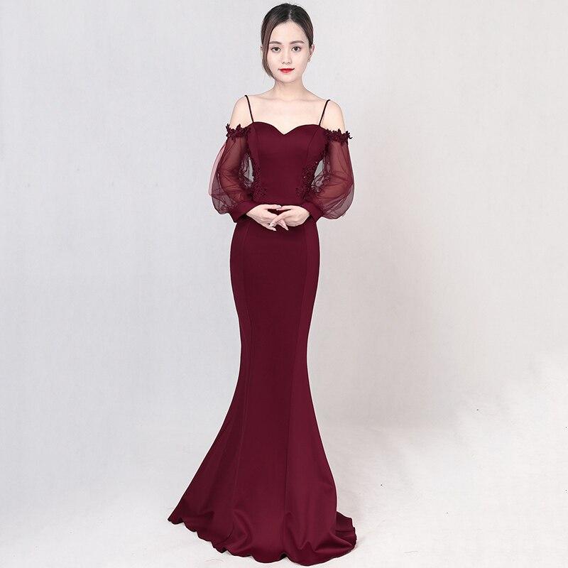 53359e666f1 Corzzet Elegant Cotton Mermaid Night Dress Fashion Black Sleeve Long Sleeve  Party Dresses Robe De Soiree Longue-in Dresses from Women s Clothing on ...