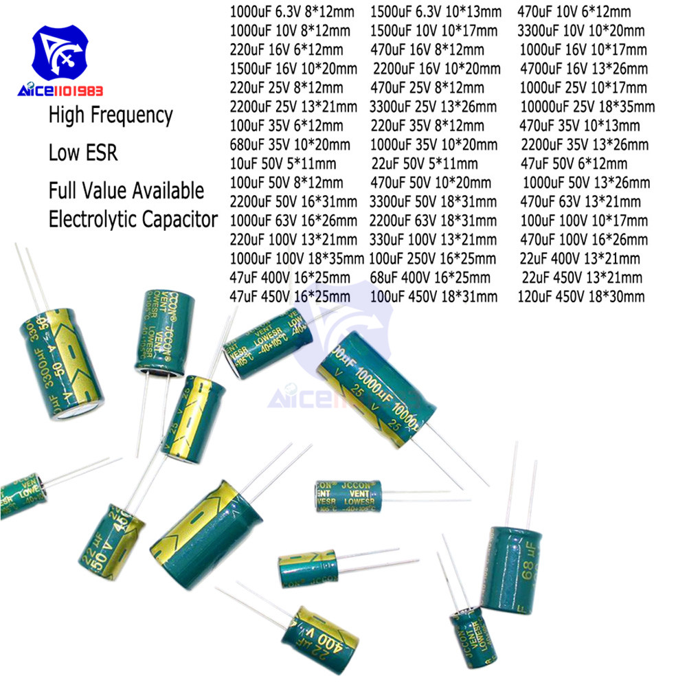 diymore 10PCS/Lot High Frequency Low ESR Electrolytic Capacitors 6.3V 10V <font><b>50V</b></font> 63V 100V 250V <font><b>10uF</b></font> 100uF 220uF 330uF 680uF 470uF image