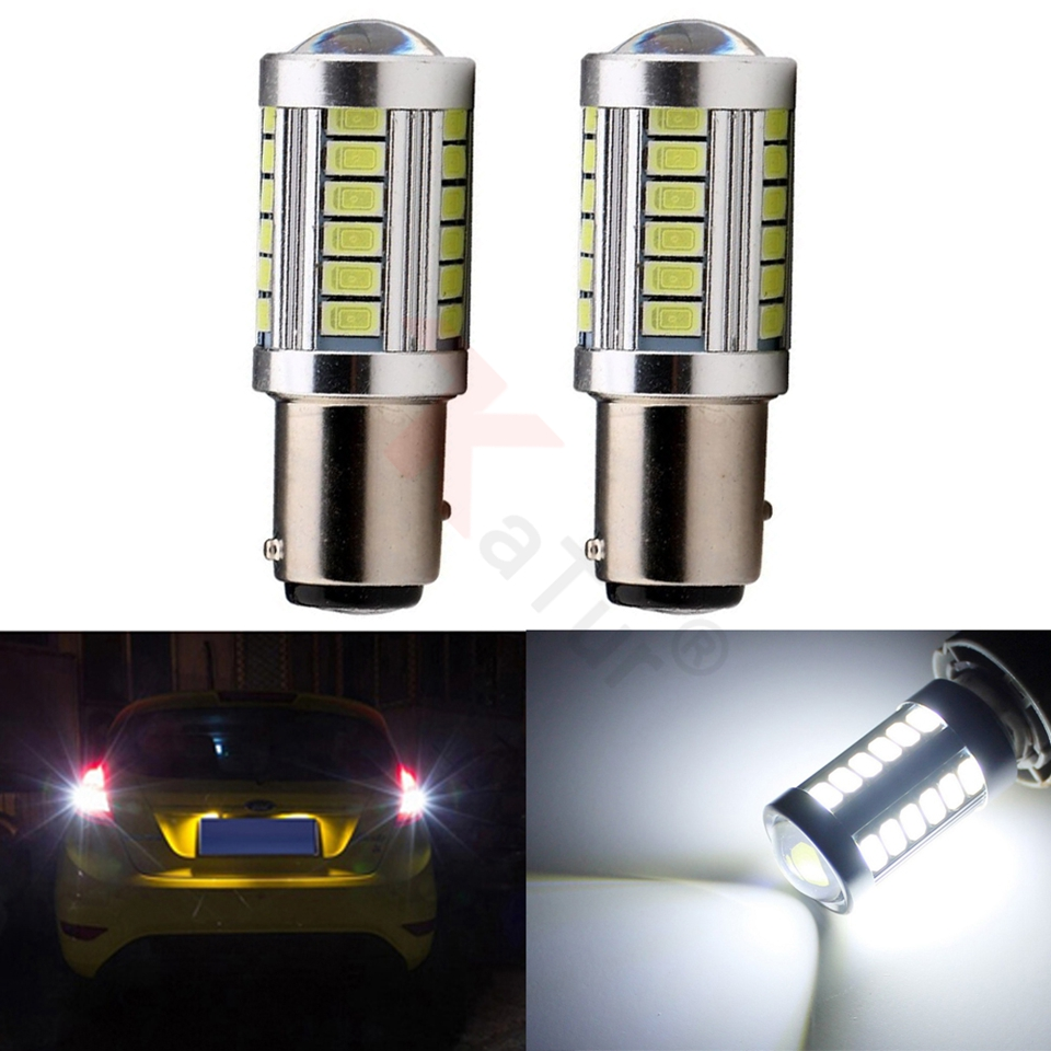 KATUR 2pcs 1157 BAY15D 5630 33-SMD Turn Tail Brake Stop Signal Light Lamp Lens For Car 900 Lumens Super Bright LED Bulb 12V 3.6W