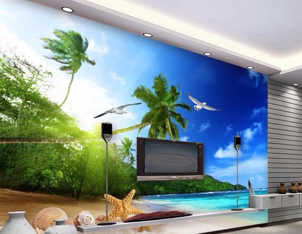 Coolen Modernen Druck Tapete Strand Landschaft Tapeten Für Wohnzimmer HD 3D  Großen Meer Landschaft Schlafzimmer Wandbilder Wallpaper In Coolen Modernen  ...