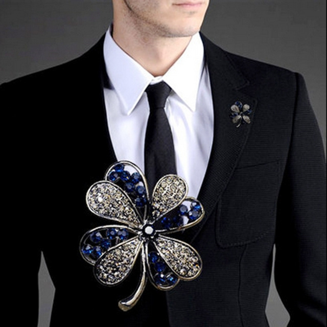 New Blue Rhinestone Brooches For Men Suit Lapel Pin Shirt