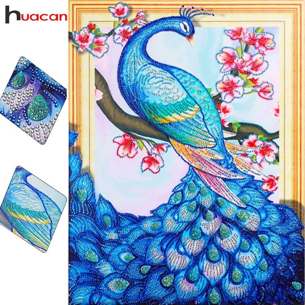 HUACAN Speciale forma di Pittura Del Pavone Del Diamante Fai Da Te Diamante Mosaico Diamante Animale Del Ricamo Set Artigianato 40x50 cm