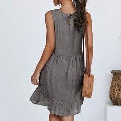 Sexy sukienka damska moda damska bez rękawów jednolity kolor na co dzień plisowane luźne abiti donna letnia sukienka 4
