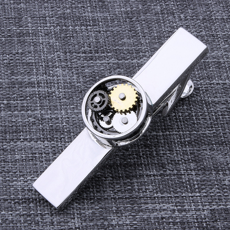 Free Shipping Watch Tie Bar for Men Simple Non-Movement Tie Clip Necktie Pin Wedding Gift