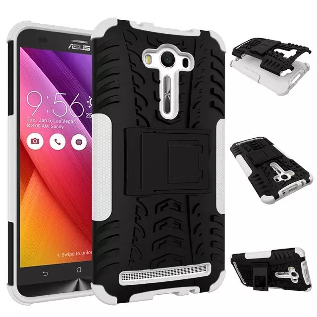 Asus Zenfone 2 Laser ZE550KL Case 5.5inch Hybrid Kickstand Dazzle Rugged Rubber Armor Hard PC+TPU Stand Function Cover 1 - alina store