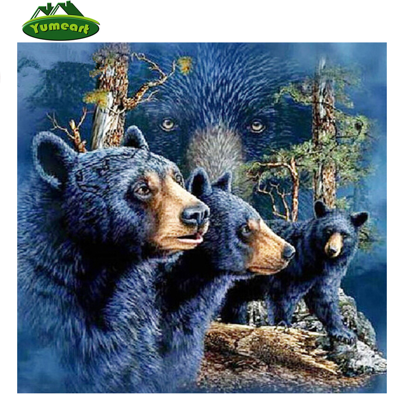 YUMEART Needlework 3D DIY Diamond Painting Cross Stitch Crystal Diamond Embroidery Forest Black Bear Full Diamond Set Decorative
