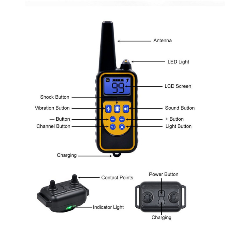 Electric Dog Training Collar Waterproof Rechargeable Remote Control Pet with LCD Display for All Size Bark-stop Collars40% Off-1