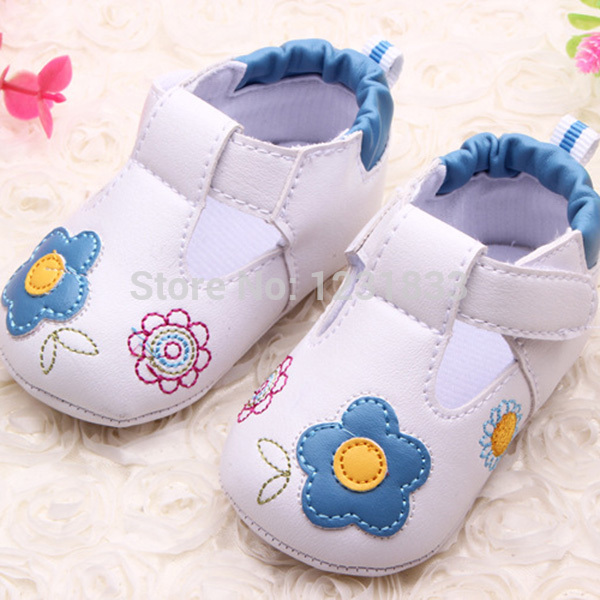 Baby Girls Toddler Shoes Flower PU Leather Soft Bottom Crib Walk Shoes
