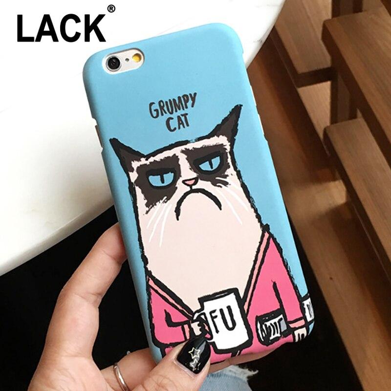 LACK Cute Cartoon Grumpy Cat Case For iphone 6 Case For iphone 6S 6Plus 6S Plus Phone Cases Lovely Animal Back Cover Capa Coque