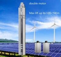 120 m de elevación 24 v 36 v DC sumergible solar bomba de agua, 0.5 hp 1 hp 2 hp bomba de agua de pozo profundo solar powered con controlador interno