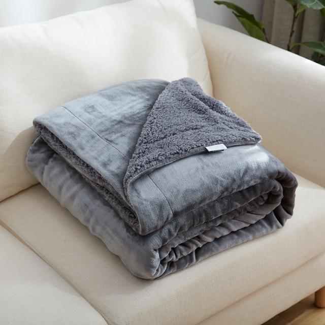 Grey Throw Blanket On The Bed Sofa Gold Ermine Villus Berber Fleece Fabric Upgraded
