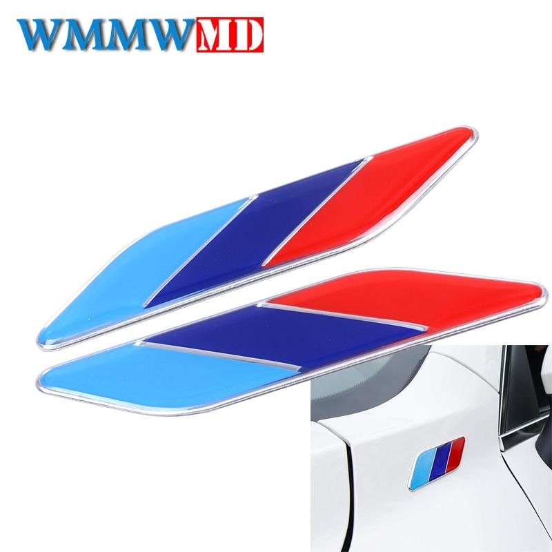 2 шт. автомобильный Стайлинг ABS 3D гоночные полосы флаг лист сторона крыло эмблема наклейки для BMW M3 M5 X1 X3 X5 X6 E36 E39 E46 E30 E60 E92