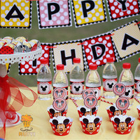 Mickey Mouse Theme Kids happy birthday Party Supplies Baby shower Candy Bar decorations event party supplies AW 1634