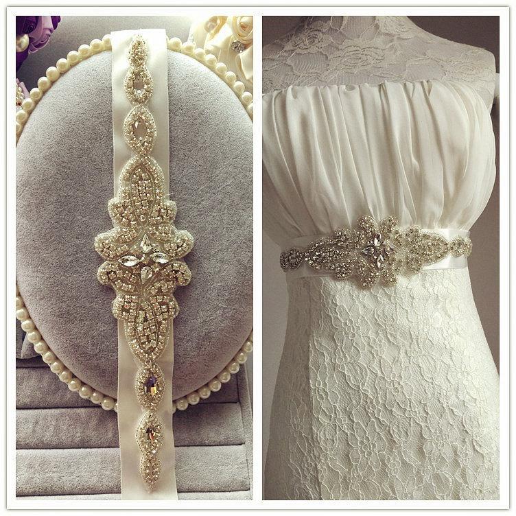 In Stock Exquisite Handmade Wedding Sash Belt Crystal Rhinestone Beading Czech Stones Bridal Sash Formal Wedding Belt