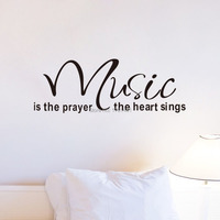 Free shipping: Music Is The Prayer Removable Beautiful Decal Mural Home Decor Wall Sticker Room Decoration Bedroom Wallpaper