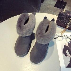 Image 4 - SWYIVY שלג מגפי נשים 2019 אישה חורף קרסול מגפי חמוד ארנב שחור נעליים יומיומיות אישה נעלי קטיפה עם פרווה Bottine Femme