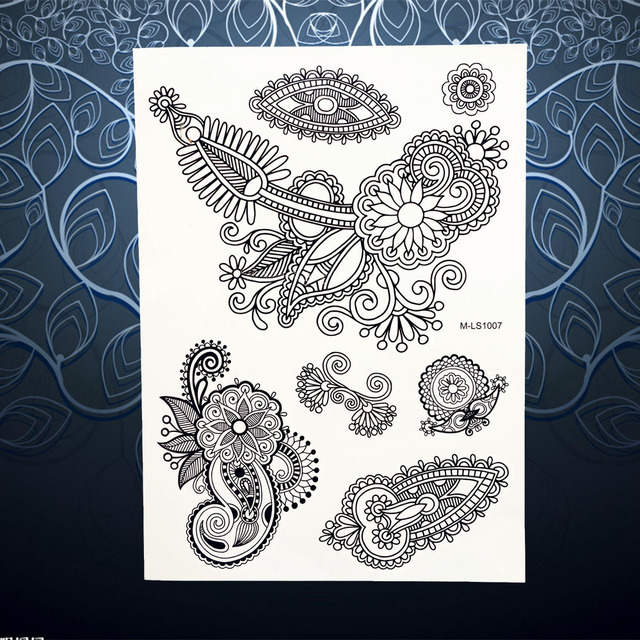 22c22349d Large Black Fake Flower Henna Tattoo Lace Mehndi Design Women Wedding Jewel  Flash Temporary Tattoo Sticker On Hand Foot PBMLS107