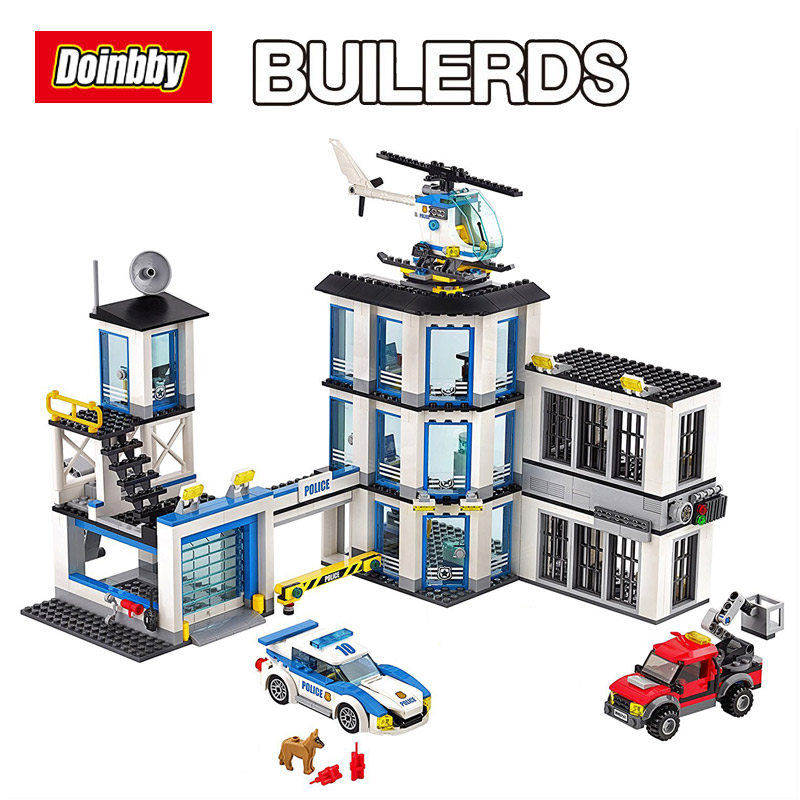 02020 City Series Police Station Education Building Block Toys For Children Gift Toys Model Gifts 60141 dhl lepin 02020 965pcs city series the new police station set model building set blocks bricks children toy gift clone 60141