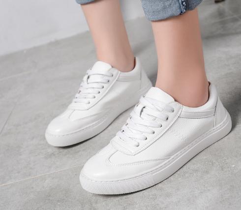 Chaussures Blanc Baimier De Lace Course En Cuir Printemps Rue Style 2018 Femmes Sneakers Véritable Up L34Rj5Aq