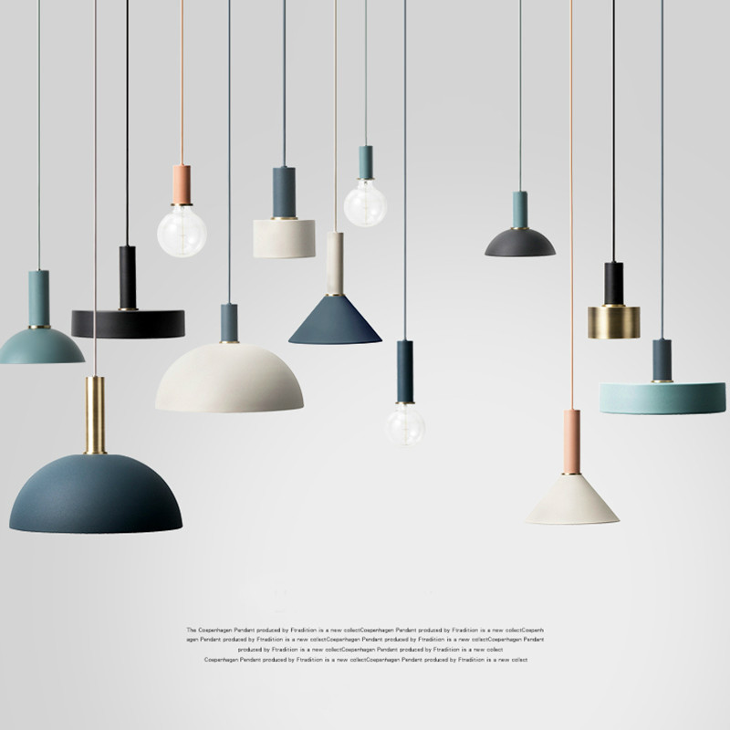 Nordic creative combination cafe aluninum pendant lamp modern brief DIY home decor living room E27 bulb pendant lighting fixture