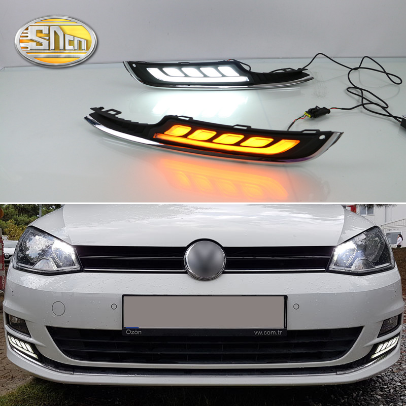 2PCS For Volkswagen Golf 7 MK7 2013 2014 2015 Yellow Turn Signal Function LED Daytime Running