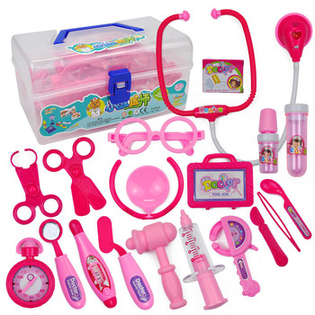 18PCS Kids Childrens Role Play Doctor Nurses Toy Medical Set Kit Gift Hard Case Game Toy Gift Education Brusting Pretend Play