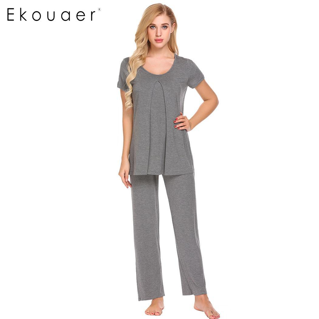 Ekouaer Women   Pajamas     Set   Maternity NursingSleepwear O-Neck Elastic Waist Short Sleeve Top Pants   Pajama     Set   Female Home Clothes