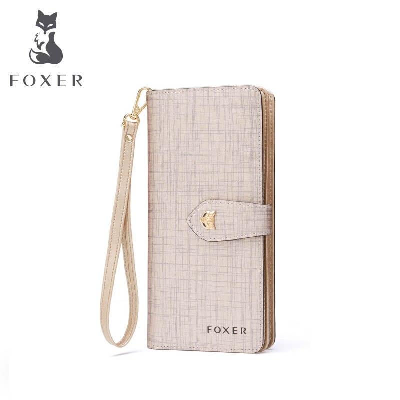 купить FOXER 2018 new women leather wallets new women long wallets fashion zipper Buckle long leather wallets purse women clutch bags по цене 2889.89 рублей