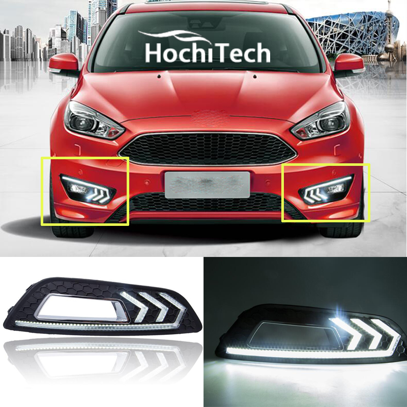 цена на 7000K white , 12V led drl daytime running light daytime driving /running light, led fog lamp for Ford Focus 3th 2015 2016