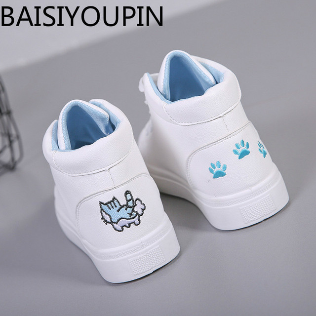 64470ffb184 2018 New Women's Shoes Student Small White Shoes for Woman Board Shoes High  Help Graffiti Footprints Ladies Causal Flats Shoes