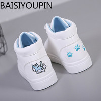 2018 New Women S Shoes Student Small White Shoes For Woman Board Shoes High Help Graffiti