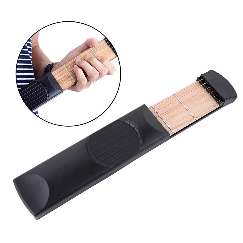 Pratical Musical Instrument Portable Pockets Acoustic Guitar Practice Tool Gadget 6 String 4 Fret Model For Beginners drop ship