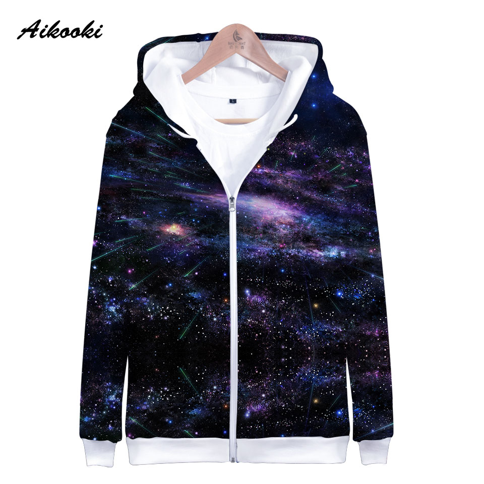 Punctual Aikooki Space Galaxy Zipper Hoodies Men/women Sweatshirt Hoody Meteor Shower Space Galaxy Hooded Boy/girls Autumn Polluver Tops Ample Supply And Prompt Delivery Hoodies & Sweatshirts