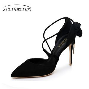 1050df08f7b Sexy high heels sandals summer lady 10cm thin heels red black point toe  suede lady party pumps shoes steinmeier