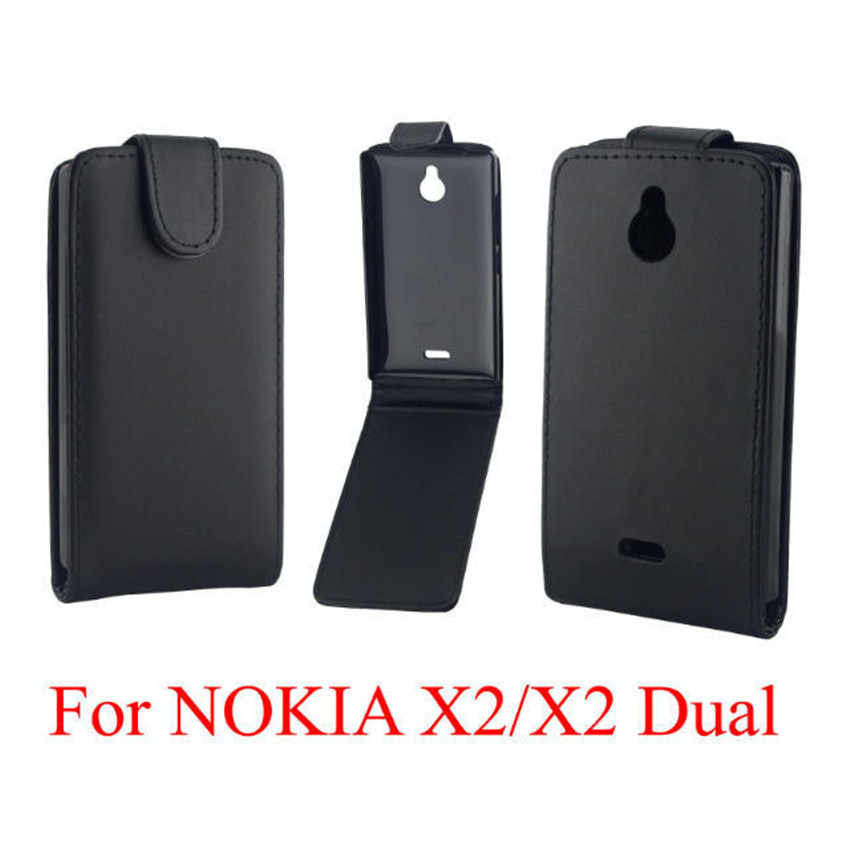 Phone Bags Cover For Nokia X2 phone case Back coque PU leather Flip Vertical Up-Down Open skin pouch