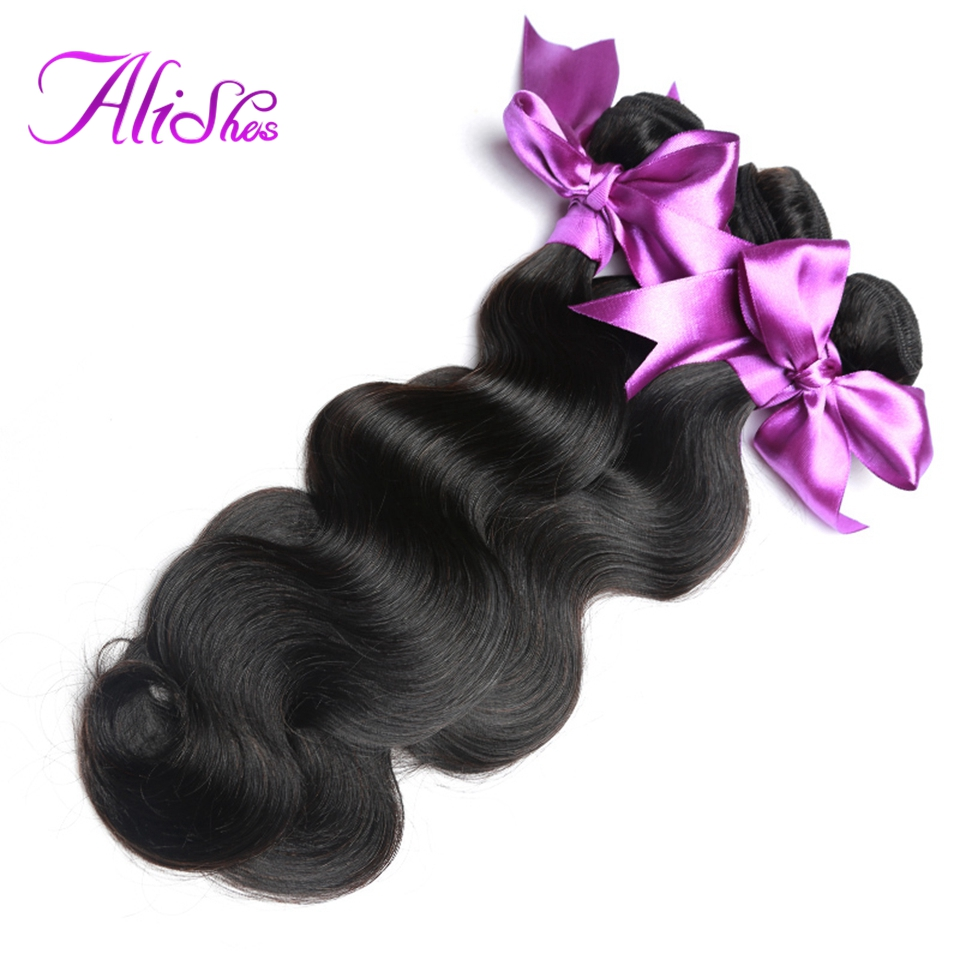 Alishes Peruvian Hair Body Wave Bundles 1/3 Pieces Human Hair Weave Bundle Deals 8-28 Inch Mixed Remy Hair Weaving Can Be Dyed