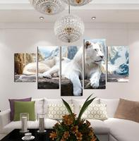 Five White Tiger Fight Baby Animal Oil Painting Frame Painting Painting Size 30 40 30 50
