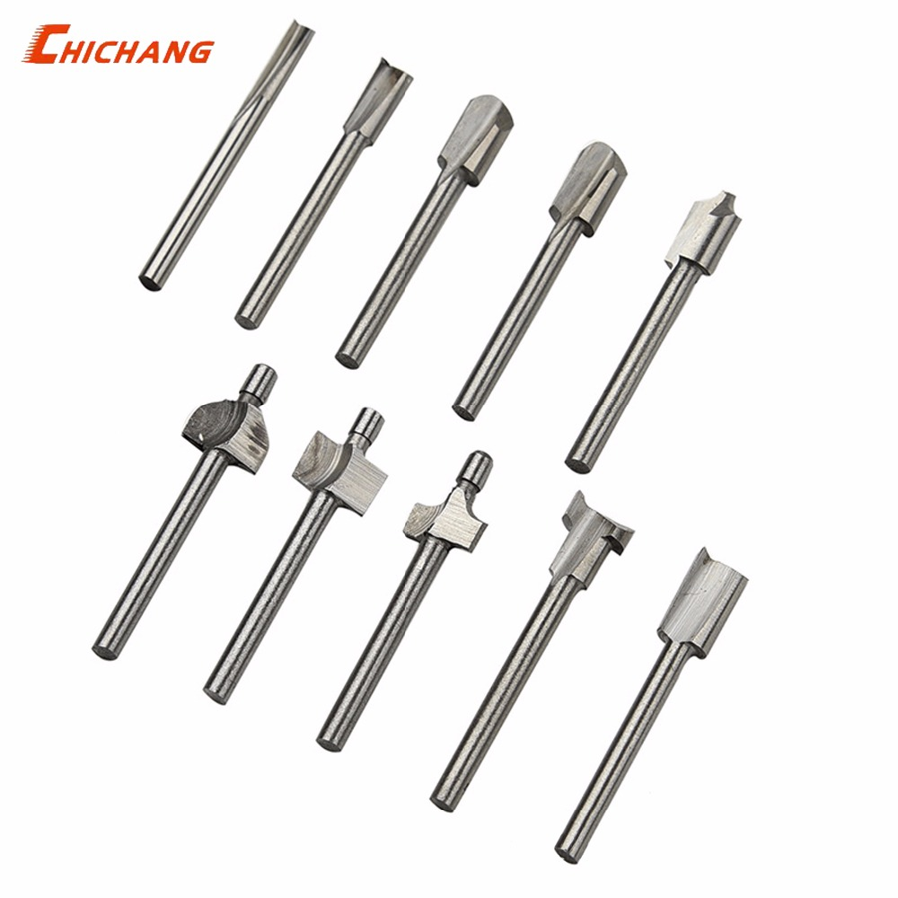10pcs 3mm HSS Titanium Router Bits Wood Cutter Milling Fits Dremel Rotary Tool Engraving Machine Knife Sharpening Slot 1 8 shank hss titanium router bits fit dremel foredom rotary tool set 10pcs